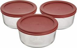 Anchor Hocking 4 Cup Food Storage Containers with Red Lids