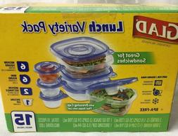 Glad Food Storage Containers Lunch Variety Pack 15 Count