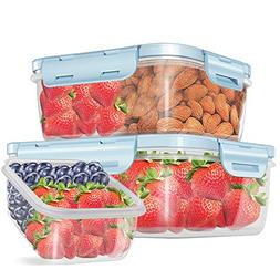 3 Piece Food Storage Containers with Lids BPA Free, 13/26/44