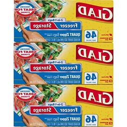 Glad Food Storage and Freezer 2 in 1 Zipper Bags - Quart - 4
