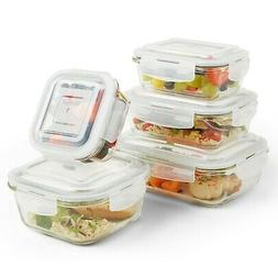 VonShef 5pc Containers Glass Food Storage with 5 Airtight Tu