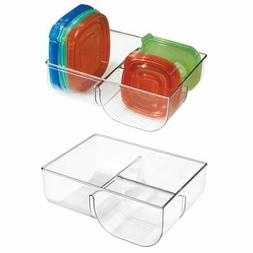 mDesign Food Storage Container Lid Holder, 3-Compartment Pla