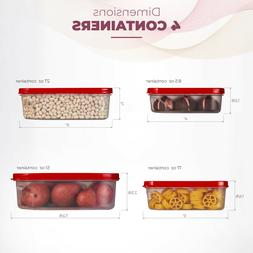 Food Storage Plastic Containers Reusable with Lids Square 4