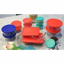 food storage rectangle round container red green