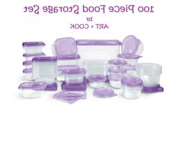 FOOD STORAGE SET by ART+COOK 100 PCS Dishwasher Freezer Micr