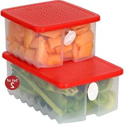 Fresh Fruit and Vegetable Food Storage Container w/ Air Vent
