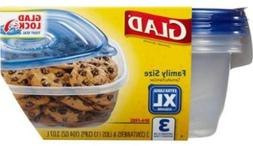 Glad Food Storage Containers, Family Size, 104 Ounce, 3 Coun