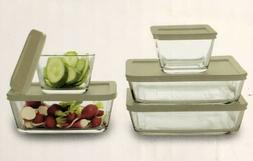 JCP Everyday Glass 10-piece Rectangular Storage Set Non-Toxi
