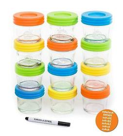 Glass Baby Food Storage Containers - Set contains 12 Small R