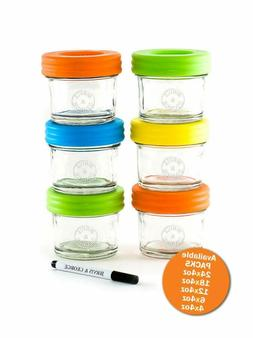 Glass Baby Food Storage Containers - Set Contains 6 Small Re