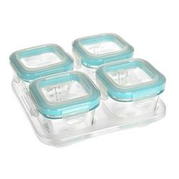 OXO Tot Glass Baby Blocks Food Storage Containers, Teal, 4 o