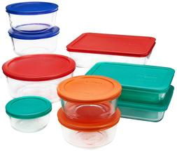 Pyrex Glass Food Container Set Air Tight Lids 18pc USA Made