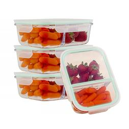 Glass Food Containers 2 Compartment Divider Meal Prep Storag