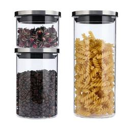 3 Pack Glass Food Jars with Lids, Food Storage Containers Se