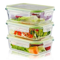 3 Pieces Glass Food Storage Container with Snap Locking Lid