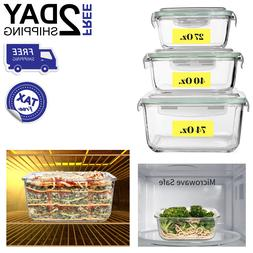 Glass Food Storage Container Large Airtight Lid Freezer Dish