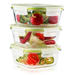 Living Express 6 Pieces Glass Food Storage Container Set  wi