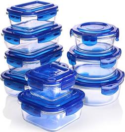 Glass Food Storage Container Set - Blue - BPA Free - FDA App