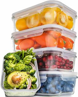 Prep Naturals Glass Food Storage Container Set with Airtight