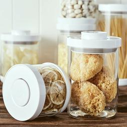 Glass Food Storage Container with Airtight Clamp Lids Kitche