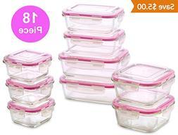 WonderVeg Glass Food Storage Containers - 18 Piece - BPA Fre