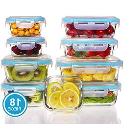 18 Pieces Glass Food Storage Containers-Glass Meal Prep Cont