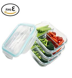 Glass Food Storage Containers with Lids 3 Compartment Divid