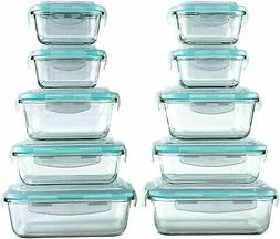 Glass Food Storage Containers Set with Snap Lock Lids - Saf