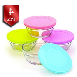 LAV Glass Food Storage Containers with Colorful Lids, Leak P
