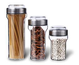 Elemental Kitchen Glass Jar Food Storage Container Set w/ St
