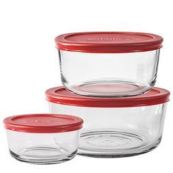 Anchor Hocking 6-Piece Glass Kitchen Food Storage Set with R