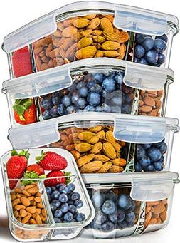Glass Meal Prep Containers 3 Compartment - Bento Box Contai