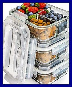Prep Naturals Glass Meal Containers 3 Compartment Bento Box
