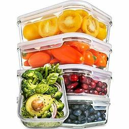 Prep Naturals Glass Meal Containers - Food With Lids Storage