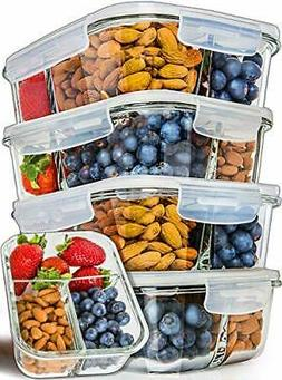 Prep Naturals Glass Meal Prep Containers 3 Compartment 5 Pac