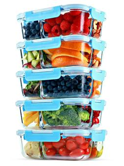 Glass Meal Prep Containers 3 Compartment, 5 Pack, 35 Oz, Foo