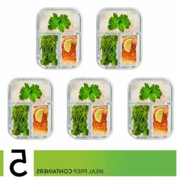 Prep Naturals Glass Meal Prep Containers 3 Compartment Bento