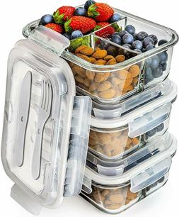 Prep Naturals Glass Meal Prep Containers 3 Compartment - Ben