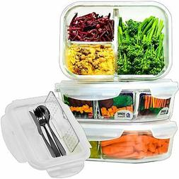 Glass Meal Prep Containers 3 Compartment with Cutlery Set |
