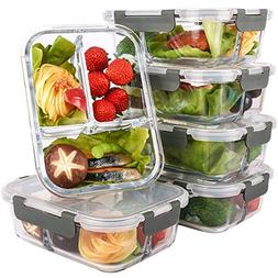 Glass Meal Prep Containers 3 Compartment with Lids, Glass L