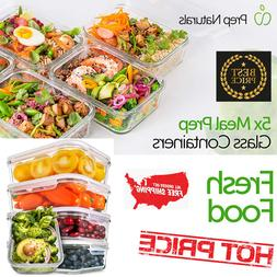 Prep Naturals Glass Meal Prep Containers 5 Pack 30 OZ Food C