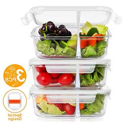 BAYKA Glass Meal Prep Containers 36 Oz 3-Pack, 2 Sealed Comp