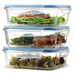 Superior Glass Meal Prep Containers - 3-pack   Airtight Food