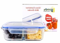 Glass Meal Prep Food Storage Portion Control Container 2-Com