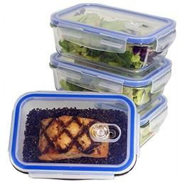 Glass Meal Prep Food Storage Container with Snap Locking Li