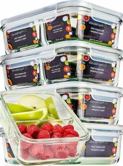 Glass Meal Prep Storage Containers with Lids 2 Compartments