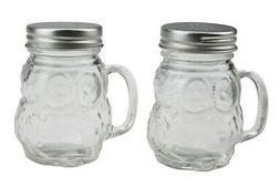 RSW Glass Salt And Pepper Shaker Pot Set Owl Design Mason Ja
