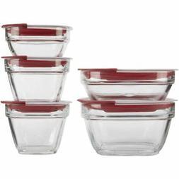 Rubbermaid Glass 10 Piece Set LEAK PROOF Easy Find Lids One