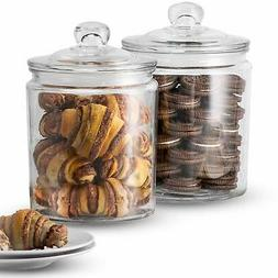 KooK Glass Storage Canister, Clear Jar, With Clear Glass Lid