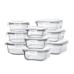 Glass Storage Containers with Lids, 18 Pieces Glass Meal Pre